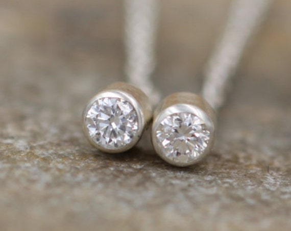 Diamond Threader Earrings - Diamond Studs - Threader Earrings - Diamond Stud Earrings - Diamond Silver Earrings - VS Diamond Earrings