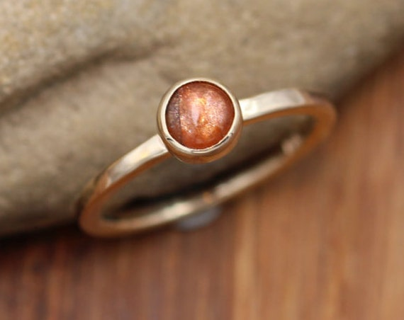 Sunstone Stacking Ring - Sunstone Ring in 14kt Yellow Gold - Round Sunstone Ring -  Select Grade Sunstone Ring