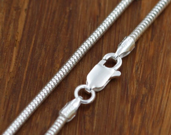 "Sterling Snake Chain, 1.9mm Seemless - 925 sterling silver -  choice of 16"", 18"", 20"", 24"" or 30"""
