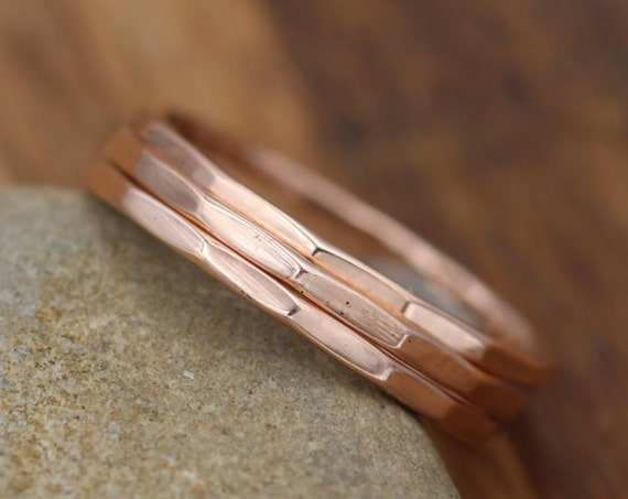 Solid 14 kt Rose Gold 1.2mm Stacking Ring -  Glossy Finish - Hammered Rose Gold Stacking Rings - Rose Gold Bands - Simple Rose Gold Bands