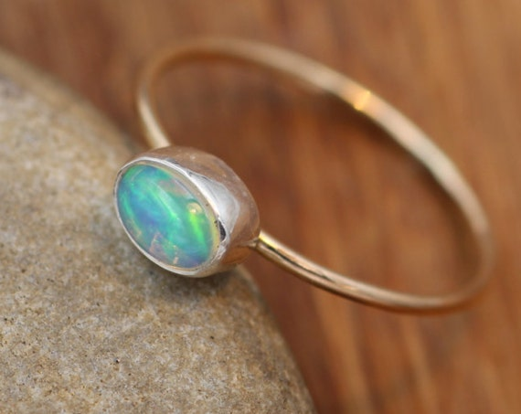 Opal Stacking Ring - Oval Opal - hand Made, Barely There