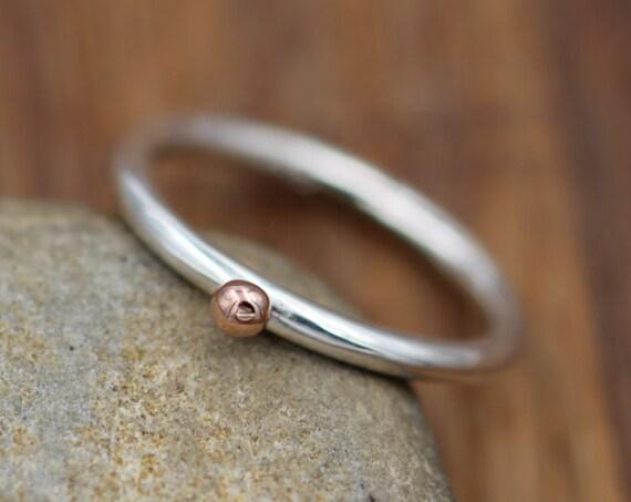 14 Kt Rose Gold Dot 2 mm Stacking Ring - Rose Gold Bead Stacking Ring - Argentium Stacking - Stacking Band