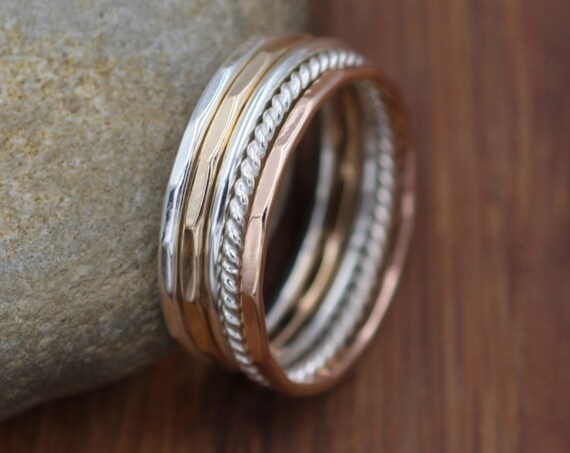 Silver and Gold 1.2mm Silver, Solid Yellow & Rose Gold Stacking Ring Set - 5 Rings - Ring Set - Rope Ring - Hammered Ring - Round Ring