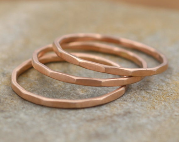 14 kt Rose Gold 1.2mm Stacking Ring Matte Finish - Hammered Rose Gold Stacking Rings - Rose Gold Bands - Simple Rose Gold Bands