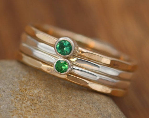 Emerald and Tsavorite Garnet Stacking Ring Set - Gold Emerald Ring Set - Emerald Ring Set - Garnet Ring Set - Gold Ring Set