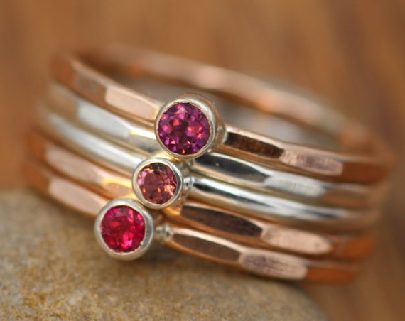 5 Ring Solid Rose Gold Stacking Set - Pink Tourmaline, Rhodolite Garnet & Ruby Stacking Ring Set - Red Ring Set - Rose Gold Ring Set