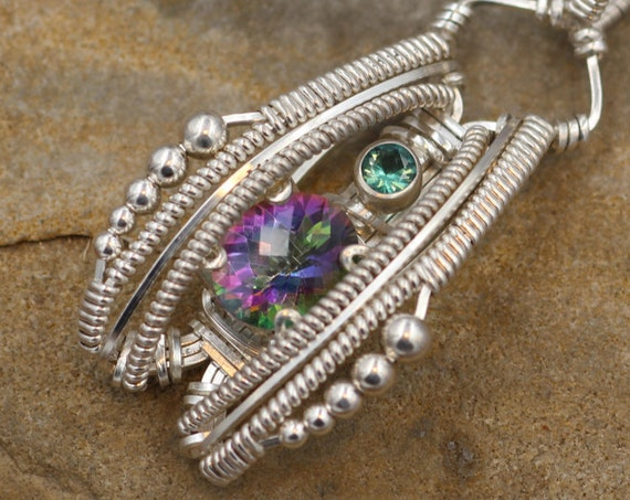 Mystic Topaz & Emerald Wire Wrapped Heady Pendant - Hand Made in Argentium Sterling Silver