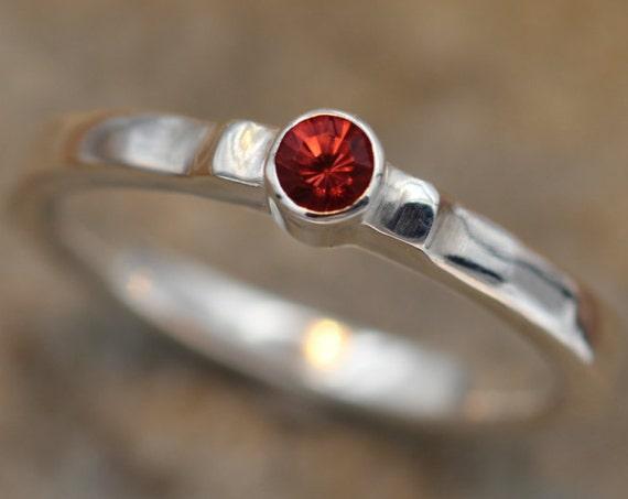 Rhodolite Garnet Bezel Ring, Glossy Finish -Solitaire Rhodolite Garnet Ring - Round Garnet Ring - Alternative Engagement Ring