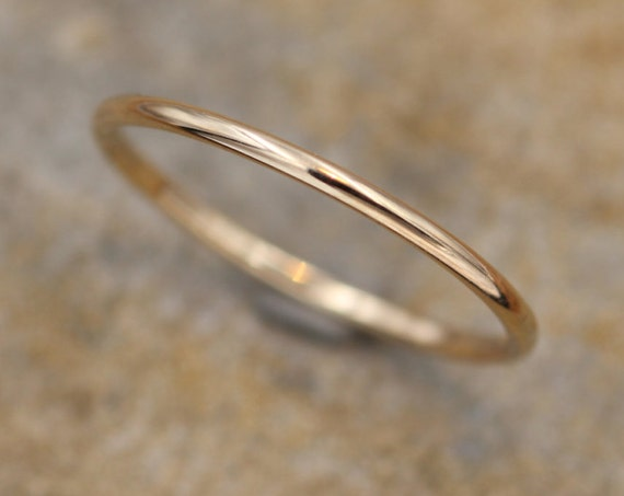 Yellow Gold Round Band 1.2 mm Glossy Finish - Simple Solid Gold Band - Smooth Round Band - Skinny Gold Band - Dainty Band - Barely There