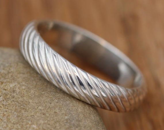 Textured Sterling Wedding Band with Personalized Engraving - Mill Finish hand made in Sterling Silver