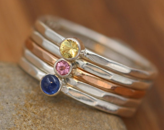 Sapphire Stacking Ring Set - Blue, Yellow & Pink Sapphire - 1.3 mm Stacking Bands - Sapphire Rings