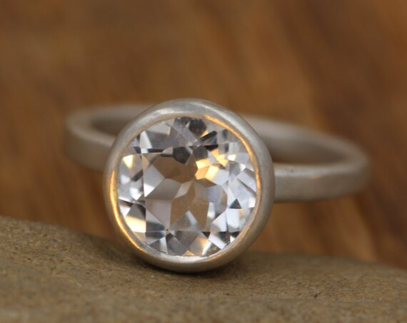 White Topaz Alternative Engagement Ring - Clear Topaz Silver Ring - Topaz Conflic Free Ring - White Topaz Bezel Ring