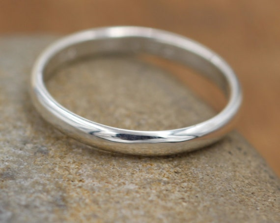 Silver Smooth Band - Glossy Finish - Smooth Texture - Half Round Ring - Recycled Silver - Simple Silver Band