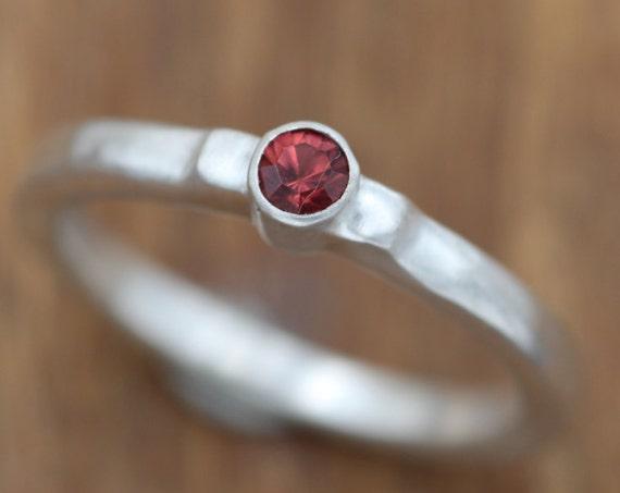 Rhodolite Garnet Bezel Ring - Matte Finish Solitaire Rhodolite Garnet Ring - Round Garnet Ring - Alternative Engagement Ring