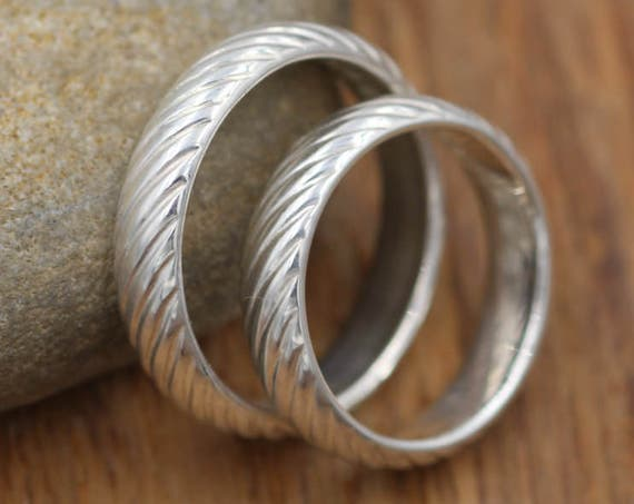 Wide Sterling Wedding Set with Optional Personalized Engraving - Mill Finish - hand made Sterling Silver - Textured Band - Wide Wedding Band