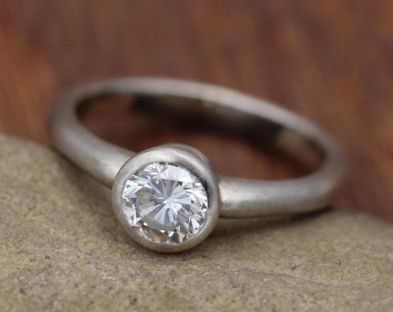 Diamond Alternative Bezel Engagement Ring - Alternative Gold Ring - Dimaond Alternative Engagment Ring - Diamond Alternative Bezel Ring