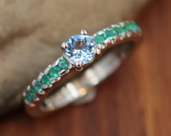 Emerald and Blue Topaz Ring - Alternative Engagement Ring -  Choice of Sterling Silver or karat Gold