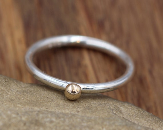 14 Kt Yellow Gold Dot 2 mm Glossy Stacking Ring - Yellow Gold Bead Stacking Ring - Argentium Stacking - Stacking Band