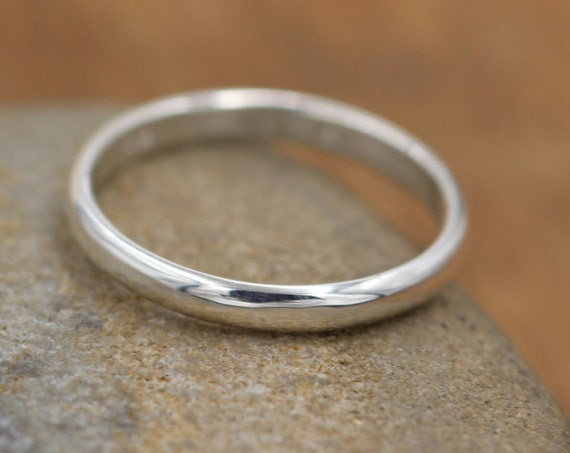 Half Round Silver Ring 2.3x1.2mm - Simple band - Smooth Texture Half Round Band hand made in sterling silver 14 kt yellow gold