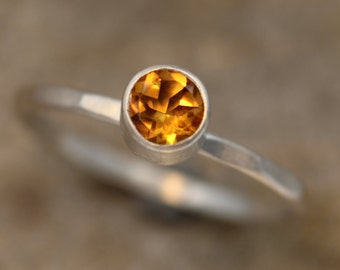 Citrine Stacking Ring - Citrine Bezel Stacking Ring - Citrine Round Ring - Citrine Ring - Citrine Silver Ring - Citrine Thick Ring