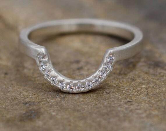 Diamond Half Moon Pave Wedding Ring in Sterling Silver or Karat Gold - Matte Finish- Alternative Engagement Ring - Diamond Band - Moon Ring