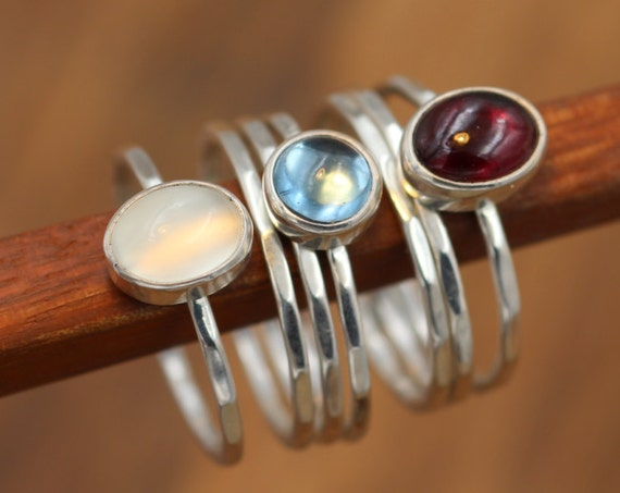Garnet, Moonstone & London Blue Topaz Stacking Ring Set - Argentium Stacking Ring Set - Gemstone Stacking Set - Silver Rings