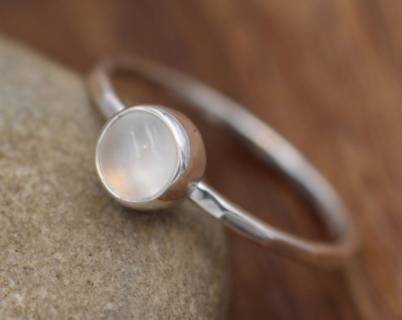 Moonstone Round Stacking Ring - Made with Choice of Silver, Yellow Gold or Rose Gold Ring band