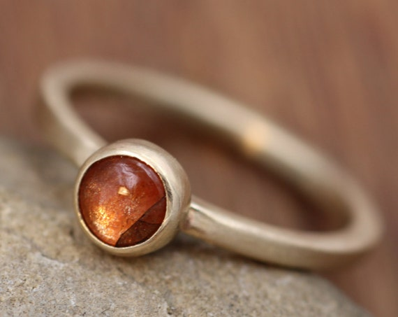 Sunstone Gold Stacking Ring - Sunstone Ring - Round Sunstone Ring - Gold Ring - Select Grade Sunstone Ring