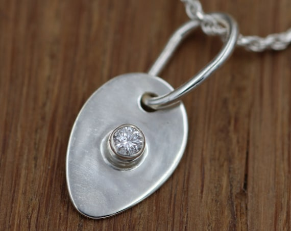 Diamond Slider Pendant/Charm Hand Made in Sterling Silver, 0.05 ct weight and VS Clarity