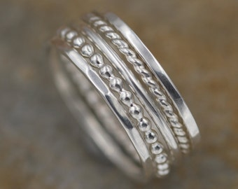 Silver Stacking Ring Set, 1.2mm Glossy - 5 Ring Rings - Thick Silver Ring Set - Hand Made in Argentium