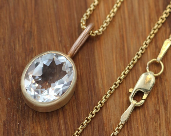 White Topaz 14 kt Gold Oval Matte Finish Necklace/Pendant - Yellow & Rose Gold - Gold-fill Chain