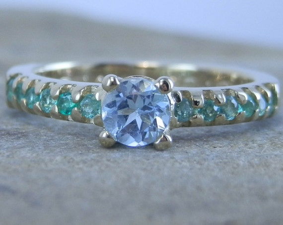 Emerald and Blue Topaz Ring - Alternative Engagement Ring in 14 kt Yellow, Rose, White Gold or 18kt White Gold