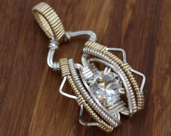 Quartz Wire Wrapped Pendant - Cushion Cut Quartz Pendant - Quartz Necklace - Wire Wrapped Necklace - Silver Wire Wrap