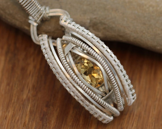 Citrine Pendant Wire Wrapped in Argentium with Fine Silver Accents