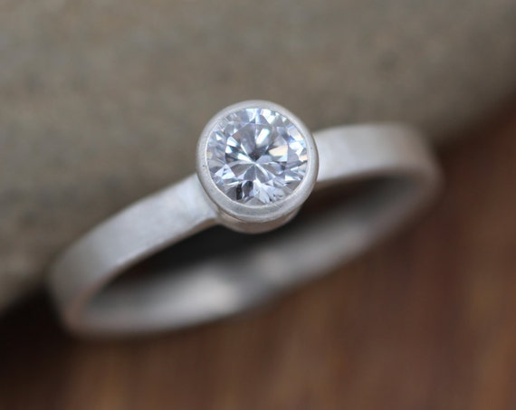 Moissanite Alternative Engagement 5mm Bezel Ring - Matte Finish - Silver or Gold - Traditional Style Ring - Solitaire Ring