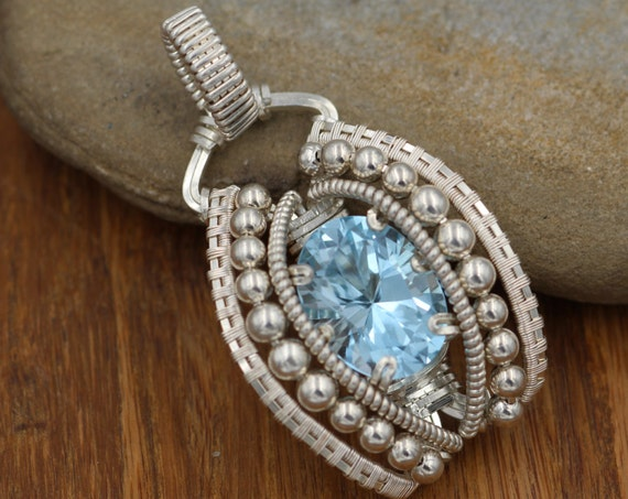 Wire Wrapped Blue Topaz Pendant Hand Made in Argentium Sterling with Fine Silver
