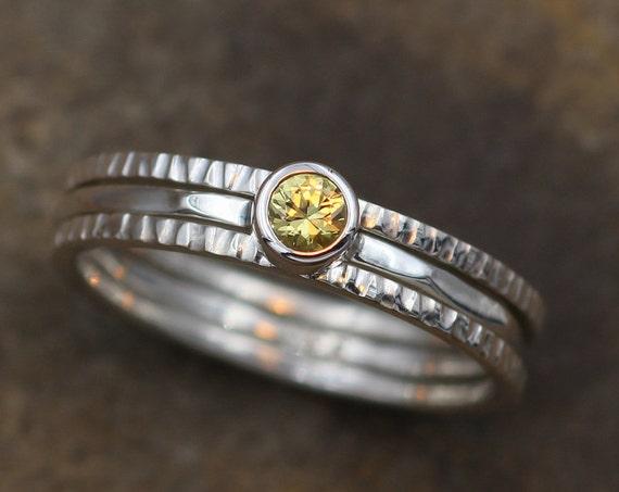 Yellow Sapphire Bezel Ring Set - Yellow Sapphire Bark Texture - Yellow Sapphire Ring - Yellow Sapphire Stack - Yellow Sapphire Stacking Set