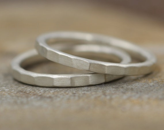 Argentium Stacking Ring, Thick, Hammered Texture - 1.8x2mm Width -  Matte Finish