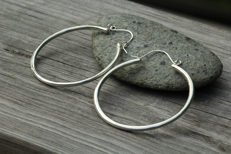 Silver Hoop Earrings Thick Hoop Earrings Hoop