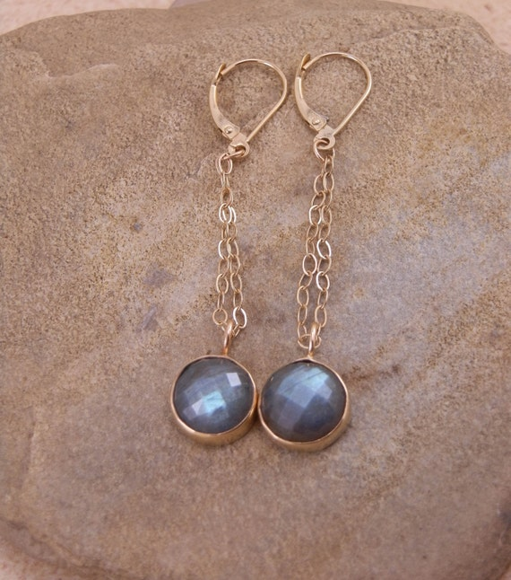 Yellow Gold Labradorite Earrings - Rose Cuts -  in 14 kt Yellow Gold - Dangle Earrings - Labradorite Bezels  - Gold Labradorites