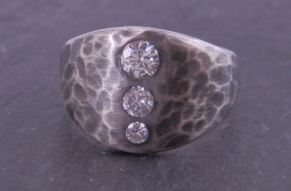 Moissanite Ring Made in choice of Sterling or Karat Gold -  Inset Hammered Texture Oxidized Finish