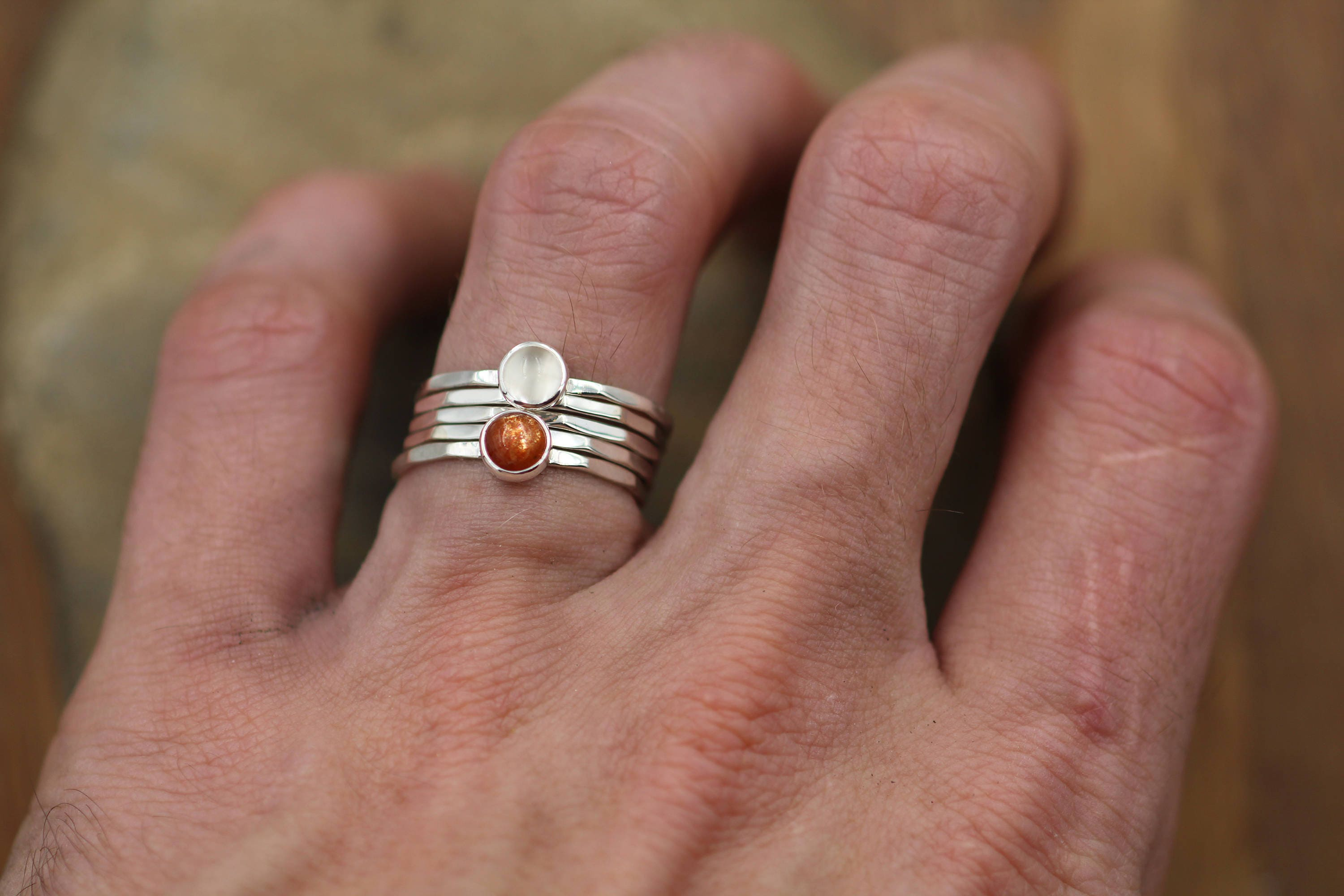 18a25ae35c0925 Sun and Moon Ring Set - Sunstone and Moonstone Ring Set - Skinny Stacking  Ring Set - Round Stacking Rings