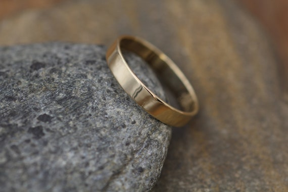 14kt Yellow Gold 4x1mm Wide Flat Band with Shiny Finish - Hand Made in solid 14 kt Yellow Gold - Wide Band - Low Profile Gold Ring