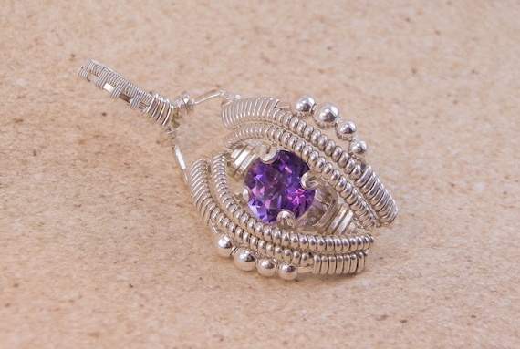 Amethyst Wire Wrapped Pendant - Petite Wire Wrapped Pendant - Deep Purple Amethyst Pendant - Amethyst Necklace - Amethyst Wrap
