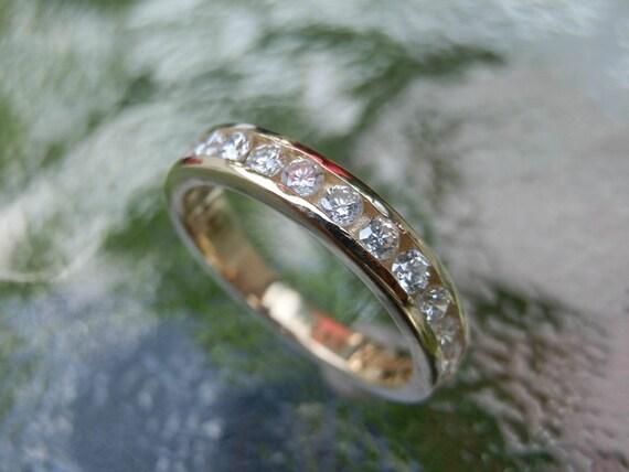 Diamond Gold Eternity Band - Diamond Ring - Large Diamond Band - Wedding Ring - Diamond Ring - Gold Ring - Half Eternity Band