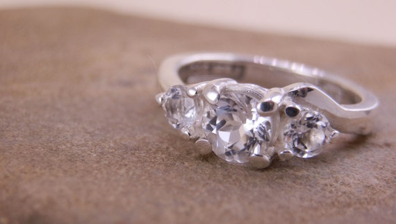 White topaz Alternative Engagement Ring in Sterling Silver or Karat Gold - Basket Setting - Traditonal Engagement Ring