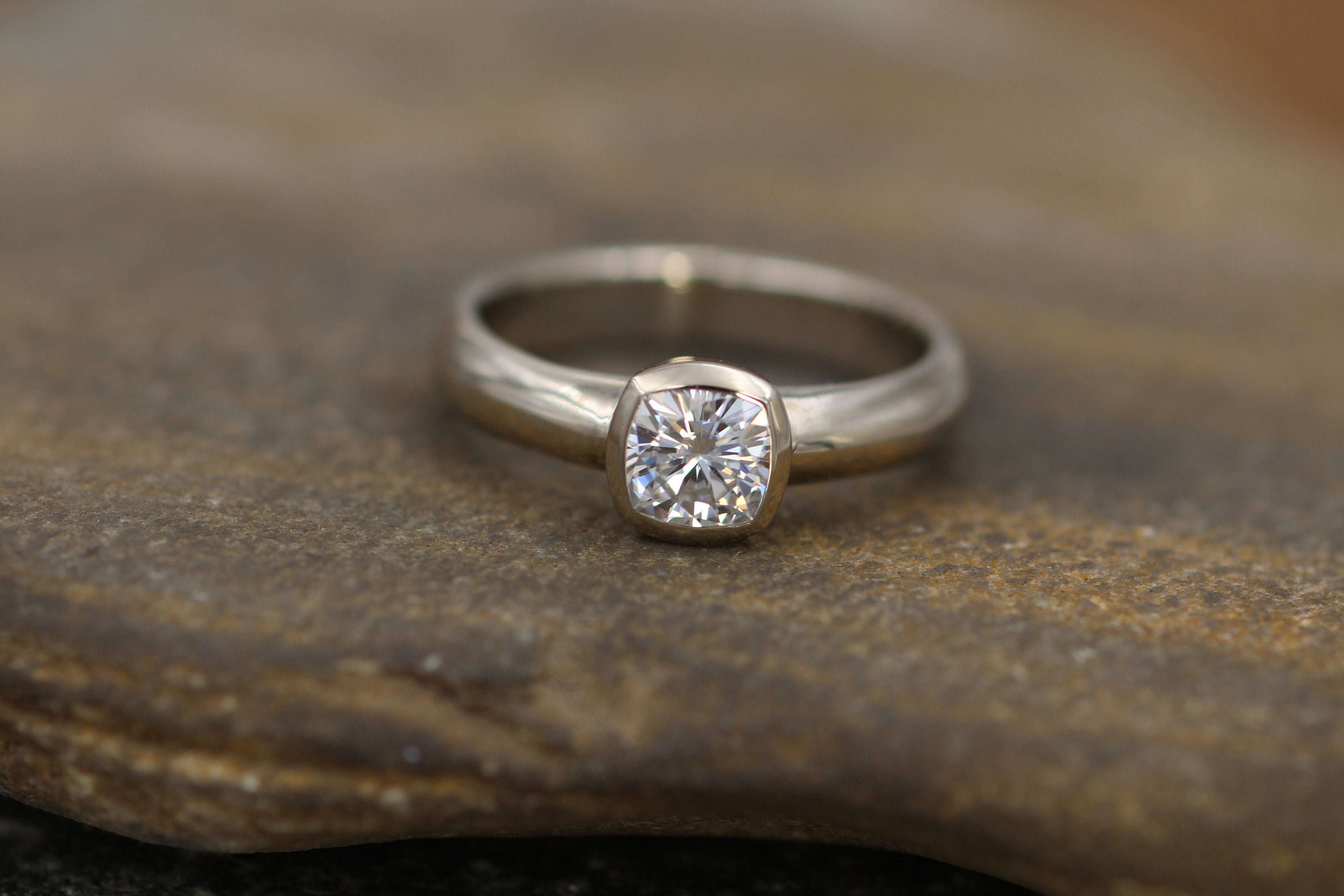 Moissanite Cushion Cut Bezel Wide Band White Gold Solitaire Ring