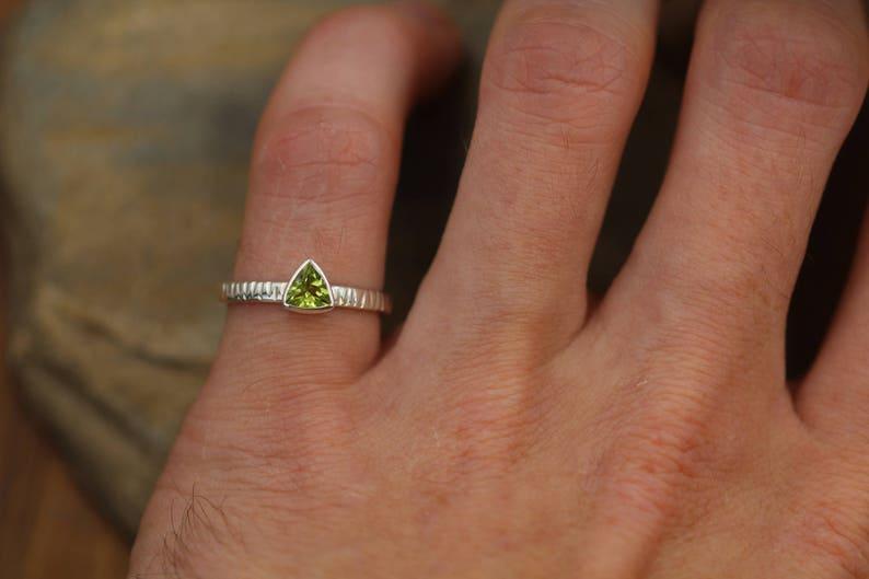 Recycled Ring Peridot Ring Peridot Trillion Bark Texture Bezel Alternative Engagement Ring Birthstone Ring Bezel Solitaire Ring