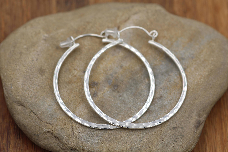 Hammered Hoop Earrings Faceted Texture Hoops Shiny hoops