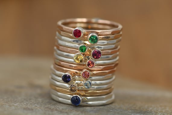 15 Ring Stacking Set - Emerald, Ruby, Blue Sapphire, Yellow Sapphire, Pink Sapphire, Pink Tourmaline, Tsavorite,Diamond, Aquamarine & Iolite